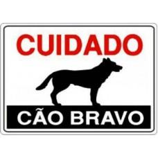 4458 - PLACA SINALIZ CUIDADO CAO BRAVO 20X30
