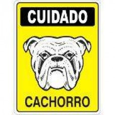 4454 - PLACA SINALIZ CUIDADO CACHORRO 20X30