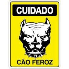 4456 - PLACA SINALIZ CUIDADO CAO FEROZ 20X30