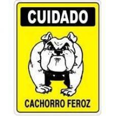 4455 - PLACA SINALIZ CUID CACHORRO FEROZ 20X30