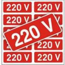 4466 - PLACA SINALIZ ADESIVA 220V C/10